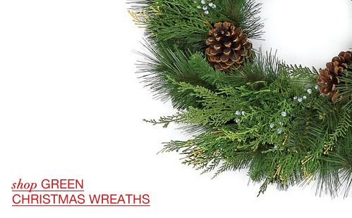 Green Christmas Wreaths; Decorated Christmas Wreaths