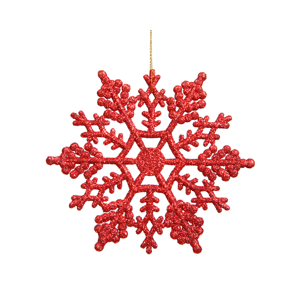 Christmas Snowflake Ornament 4 Set Of 24 Red