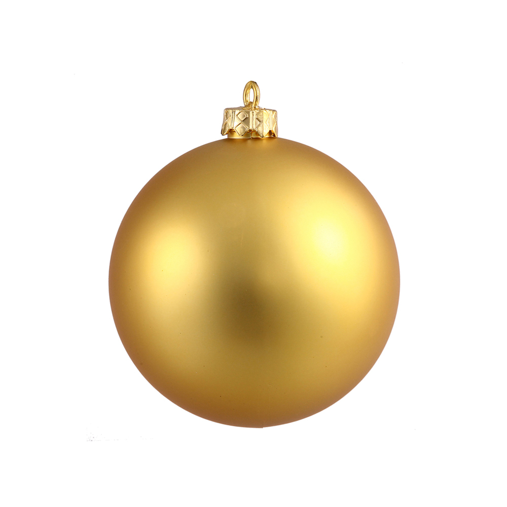 Gold ball ornaments 4 matte set of 6 for Christmas holiday ornaments