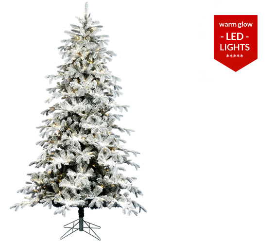 Slim Flocked Christmas Tree With Lights.Flocked Artificial Christmas Trees Santa S Quarters