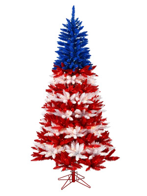 REd White Blue Christmas Tree