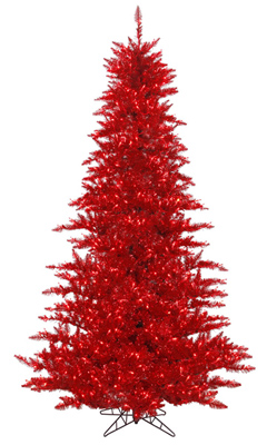 Vintage Artificial Christmas Trees.Vintage Red Artificial Christmas Trees