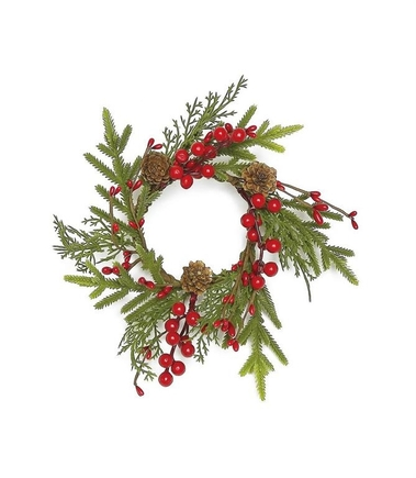 "Aspen Christmas Table Wreath 9"" Set of 2"