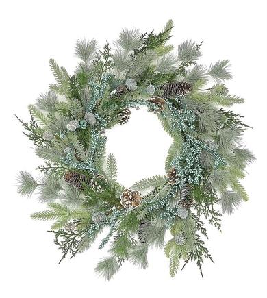 "Silver Pine Wreath 24"""