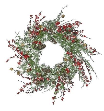 "Snowy Cedar Wreath 24"""
