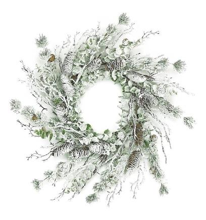 "Snowy Eucalyptus Pine Wreath 26"""