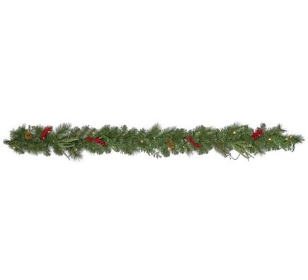 Christmas Evergreen Garland LED Battery 6'