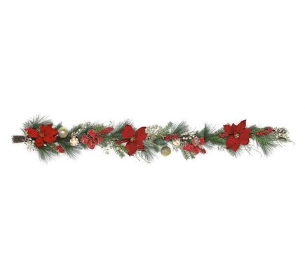 Christmas Poinsettia Garland 6'