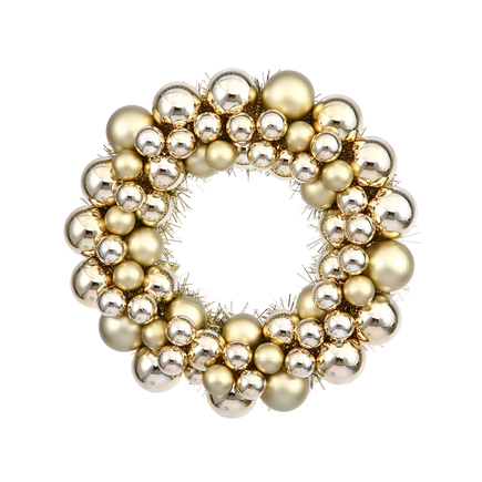 "Christmas Ball Ornament Wreath 12"" Set of 2 Gold"