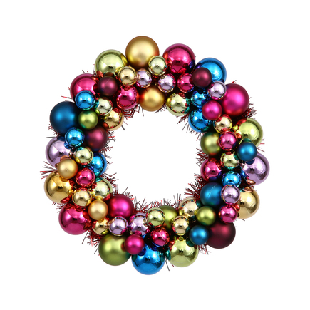 "Christmas Ball Ornament Wreath 12"" Set of 2 Multi"