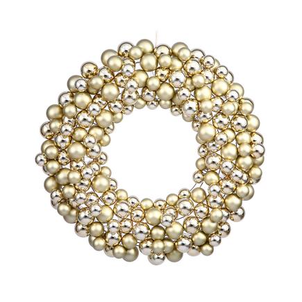 "Christmas Ball Ornament Wreath 24"" Gold"