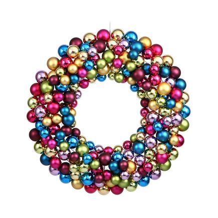 "Christmas Ball Ornament Wreath 24"" Multi"