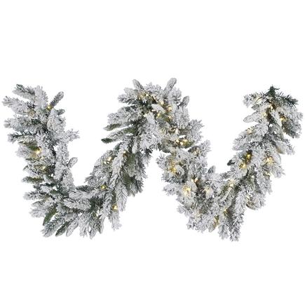"Flocked Brush Pine Garland LED 9' x 16"""
