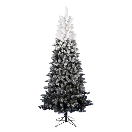 6.5' Black/White Ombré Fir Slim w/ LED Lights