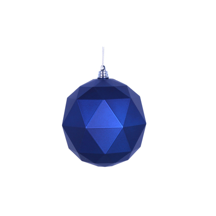 "Aria Geometric Sphere Ornament 6"" Set of 4 Blue Matte"