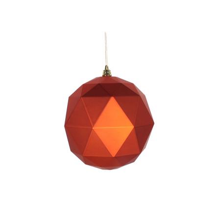 "Aria Geometric Sphere Ornament 6"" Set of 4 Burnished Orange Matte"