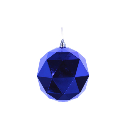 "Aria Geometric Sphere Ornament 6"" Set of 4 Blue Shiny"