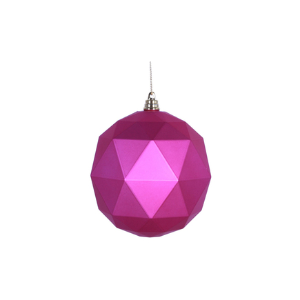 "Aria Geometric Sphere Ornament 6"" Set of 4 Fuchsia Matte"