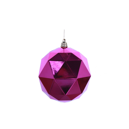 "Aria Geometric Sphere Ornament 6"" Set of 4 Fuchsia Shiny"
