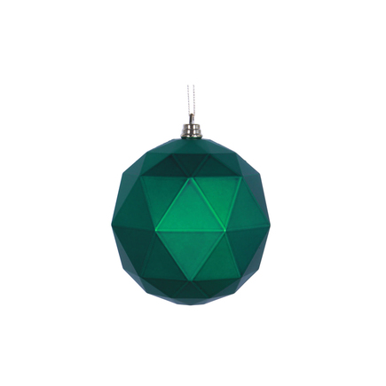 "Aria Geometric Sphere Ornament 6"" Set of 4 Green Matte"