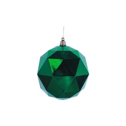 "Aria Geometric Sphere Ornament 6"" Set of 4 Green Shiny"
