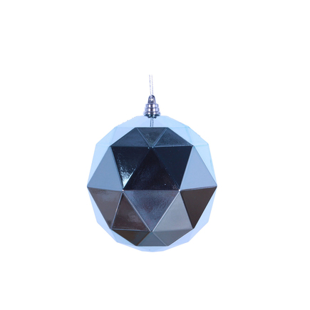 "Aria Geometric Sphere Ornament 6"" Set of 4 Ice Blue Shiny"