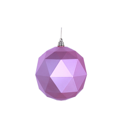 "Aria Geometric Sphere Ornament 6"" Set of 4 Pink Matte"