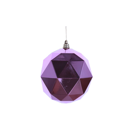 "Aria Geometric Sphere Ornament 6"" Set of 4 Pink Shiny"