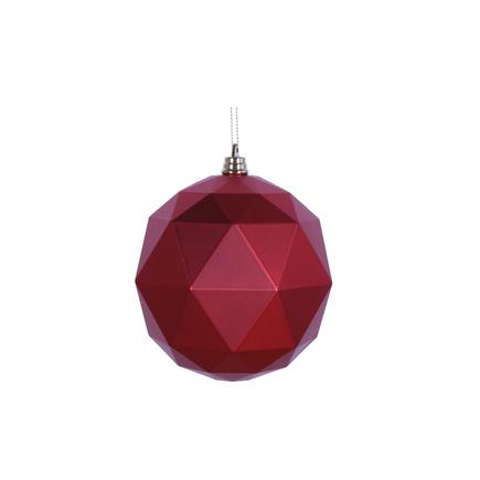 "Aria Geometric Sphere Ornament 6"" Set of 4 Red Matte"