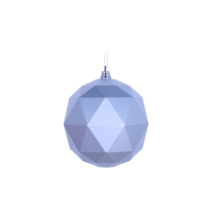 "Aria Geometric Sphere Ornament 6"" Set of 4 Silver Matte"