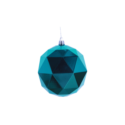 "Aria Geometric Sphere Ornament 6"" Set of 4 Teal Shiny"
