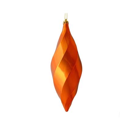 "Arielle Drop Ornament 8"" Set of 6 Burnished Orange Shiny"