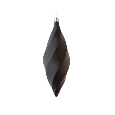 """Arielle Drop Ornament 8"""" Set of 6 Black Matte"""