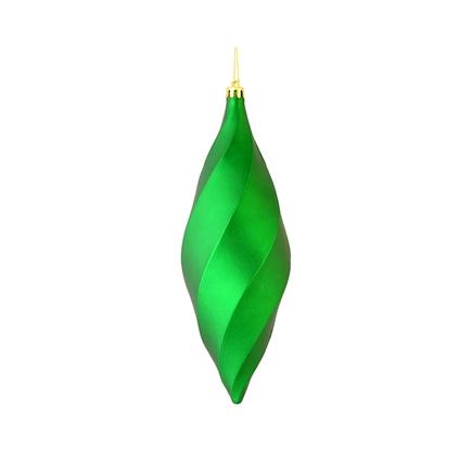"""Arielle Drop Ornament 8"""" Set of 6 Green Matte"""
