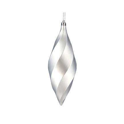 """Arielle Drop Ornament 8"""" Set of 6 Silver Matte"""