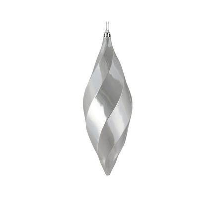 "Arielle Drop Ornament 8"" Set of 6 Silver Shiny"