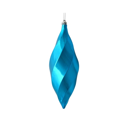 """Arielle Drop Ornament 8"""" Set of 6 Turquoise Shiny"""