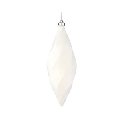 """Arielle Drop Ornament 8"""" Set of 6 White Matte"""