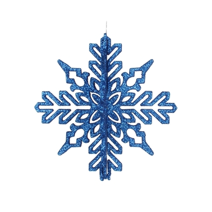 "Aurora 3D Snowflake 6"" Set of 3 Blue"