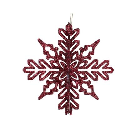 "Aurora 3D Snowflake 6"" Set of 3 Burgundy"
