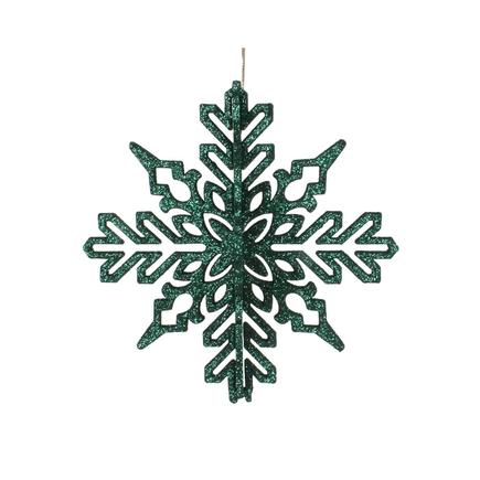 "Aurora 3D Snowflake 6"" Set of 3 Emerald"