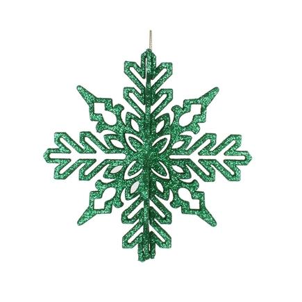 "Aurora 3D Snowflake 6"" Set of 3 Green"