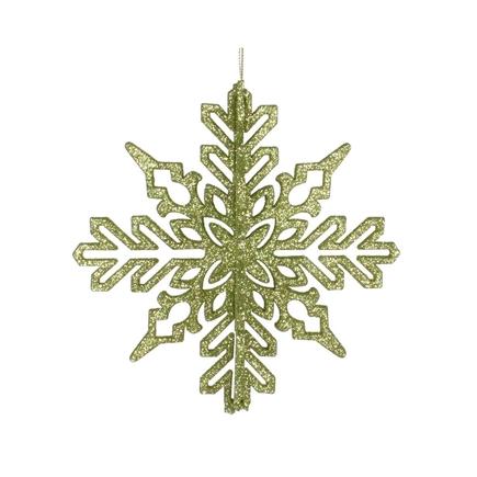 "Aurora 3D Snowflake 6"" Set of 3 Lime"