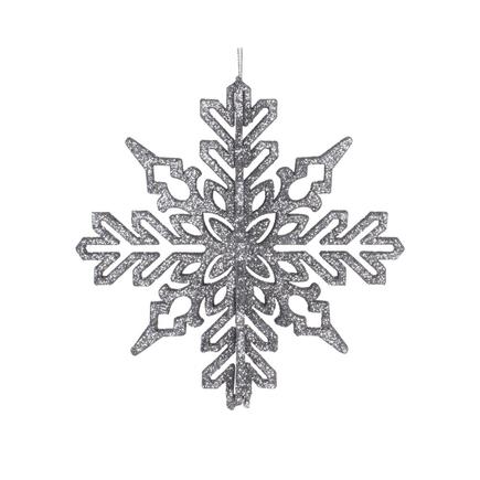 """Aurora 3D Snowflake 6"""" Set of 3 Pewter"""