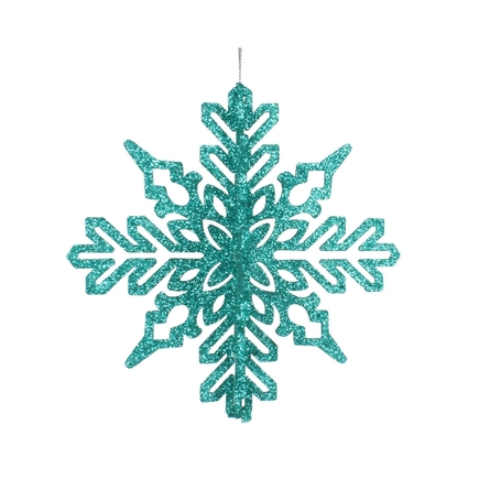 "Aurora 3D Snowflake 6"" Set of 3 Teal"