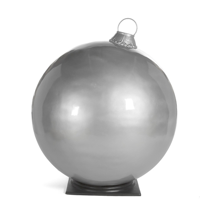 "Giant Outdoor Ball Ornament 49"" Glossy Silver"
