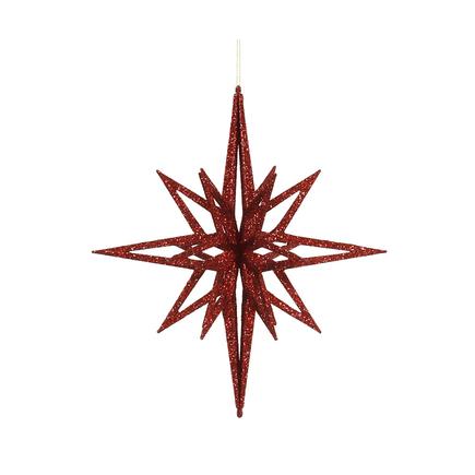 """Bethlehem Glitter Star 12"""" Red"""