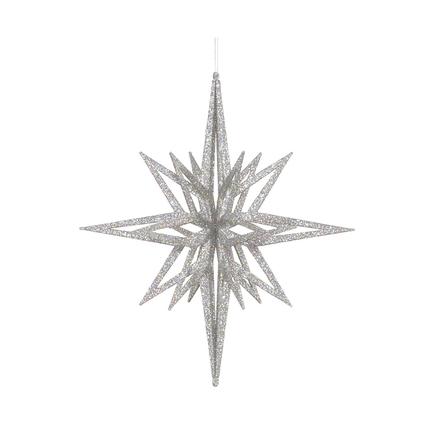 """Bethlehem Glitter Star 12"""" Silver"""