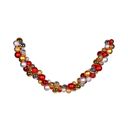 Bijou Ornament Garland 7' Gold/Red/Silver