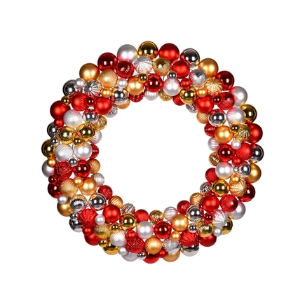"Bijou Ornament Wreath 24"" Gold/Red/Silver"
